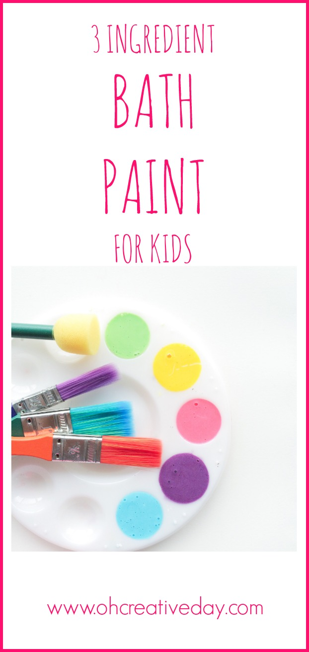 Make bath time fun with this 3 ingredient bath paint for kids