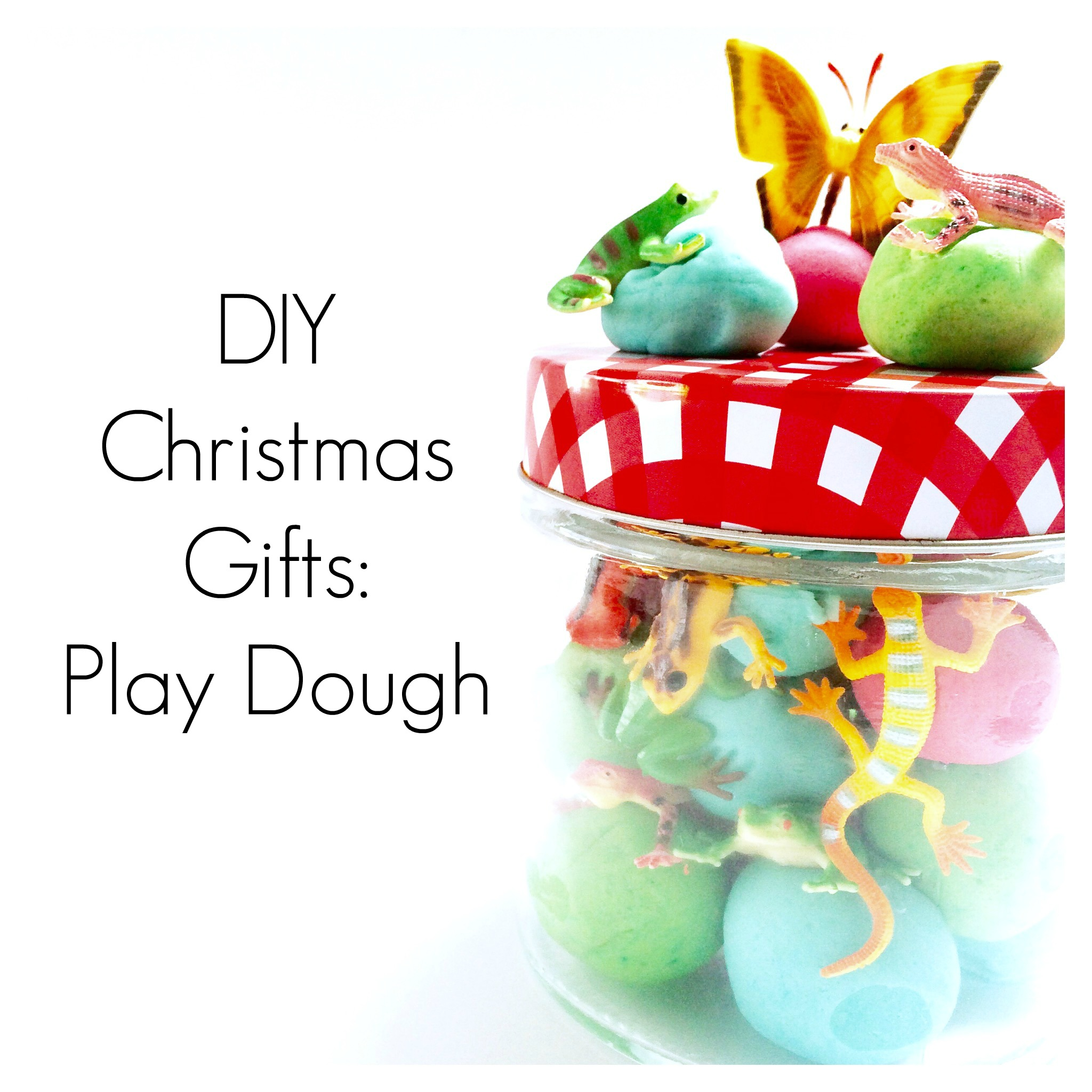 This is our very favourite DIY play dough recipe as it is easy and no-cook. Package it up with some little toys and it is perfect as an economical, DIY Christmas gift. #playdough #christmasforkids #homemadeChristmas #DIYchristmasgiftsforkids