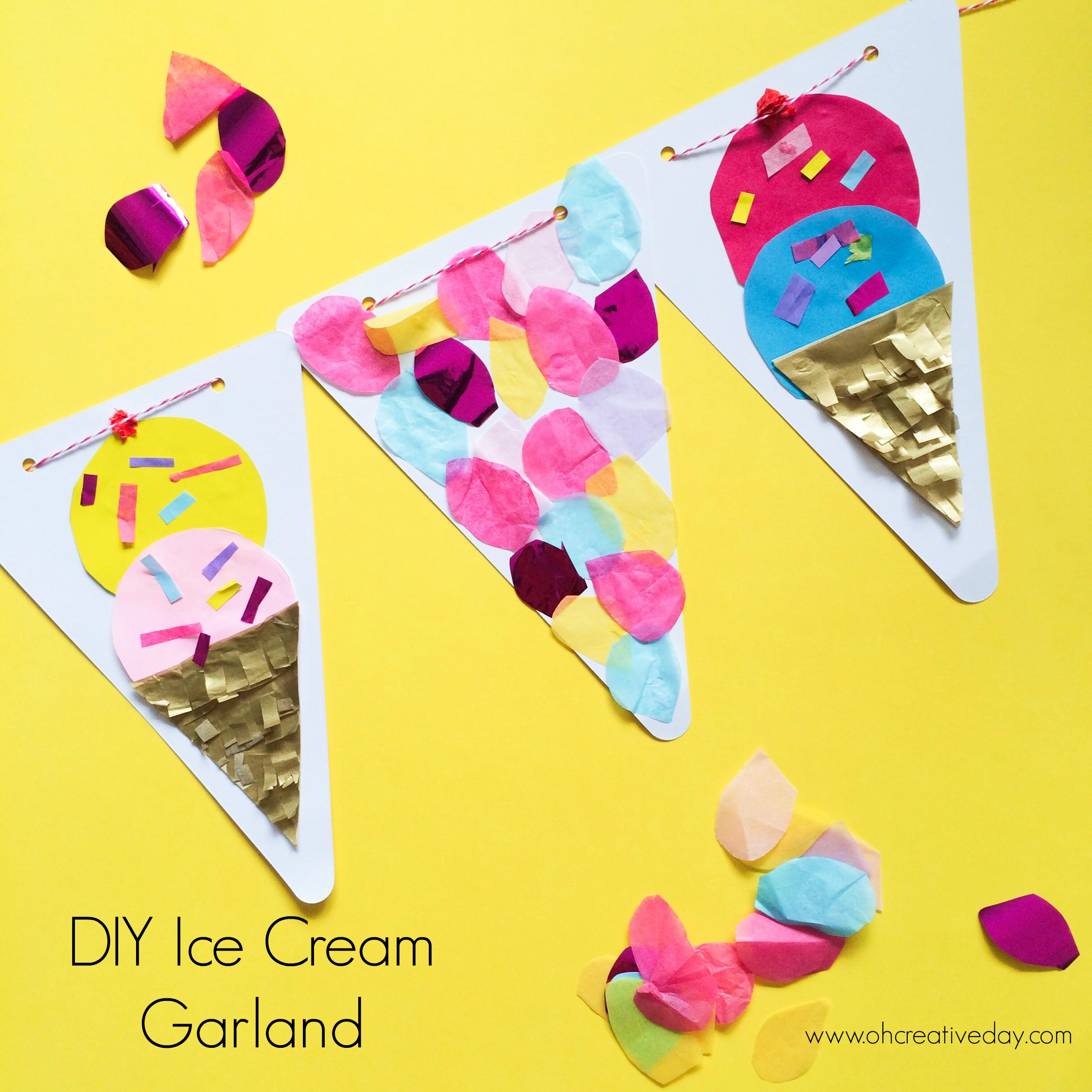 DIY Ice Cream Garland www.ohcreativeday.com