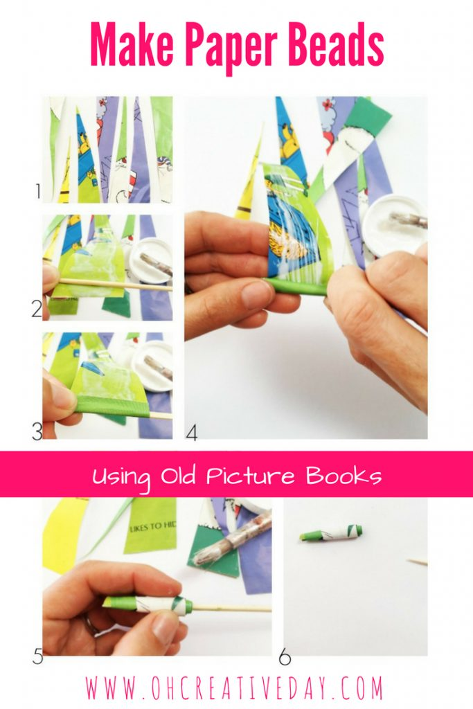 This is a fun and simple way for children to reuse and recycle your old picture books by turning them into paper beads. #kidscrafts #kidsactivities
