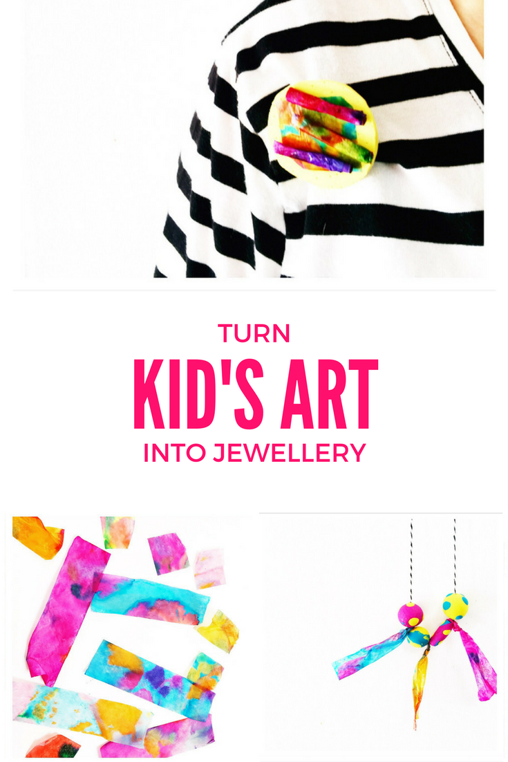 Here are 2 simple but striking ways to turn kid's artwork into jewellery