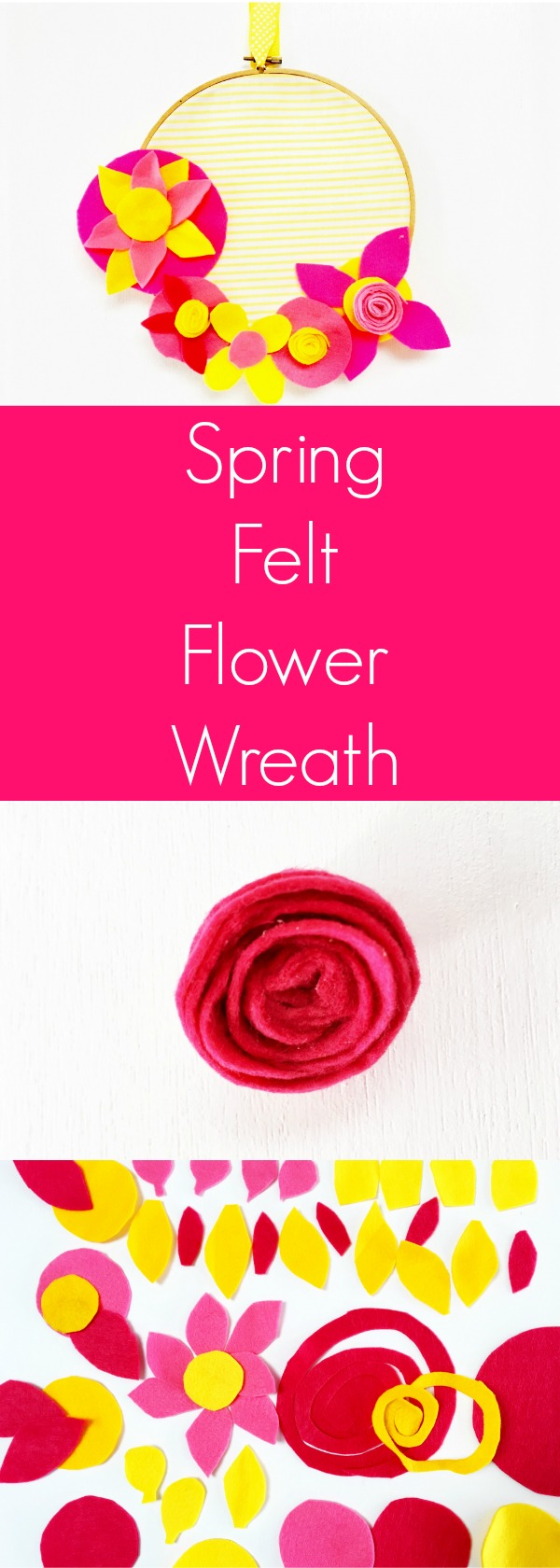 SPRING FELT FLOWER WREATH Use felt to create a simple Spring wreath filled with felt flowers. Read for how to adapt this project into a kid-friendly craft.