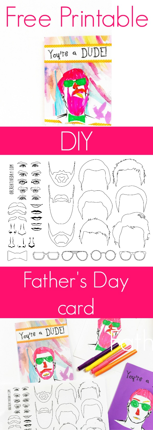Celebrate the dude in your life with this free printable Father's Day card that the kids can colour in and create themselves. #kidscrafts #fathersday #fathersdaycard