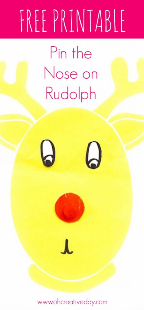 Grab your free printable and play Pin the Nose on Rudolph this festive season. #Christmasgames #Christmascraftsforkids #Christmascrafts