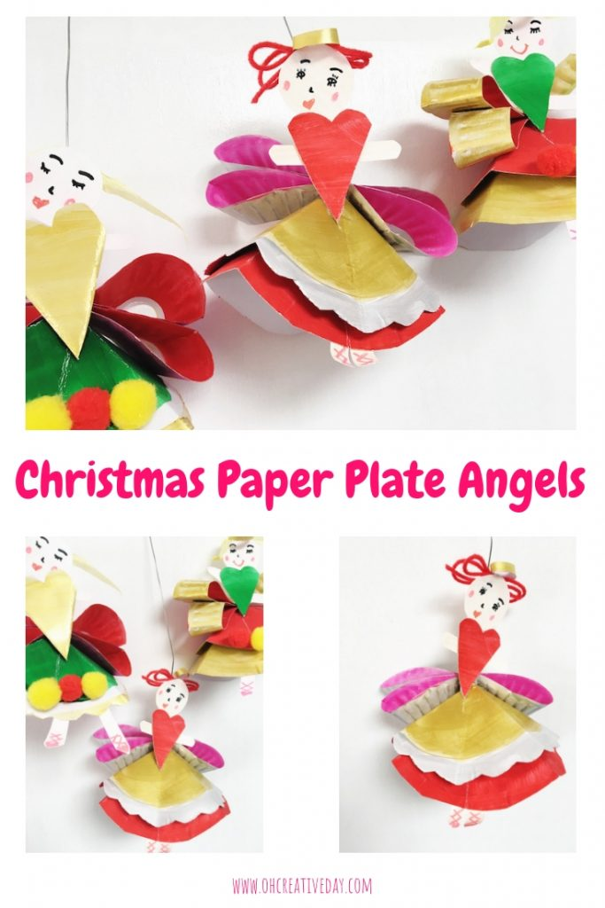 This Christmas angel craft is made out of a humble paper plate. These paper plate angels would be super-sweet in a garland or on the tree. #Christmascrafts #Christmascraftsforkids