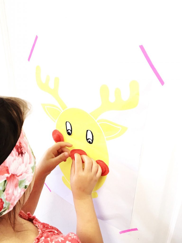 Grab your free printable and play Pin the Nose on Rudolph this festive season.