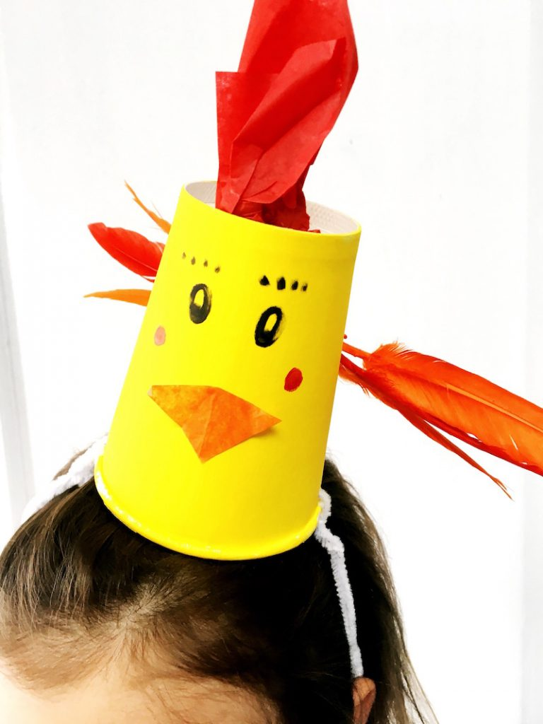 A chick Easter hat made with a paper cup for a post on Easter hat ideas