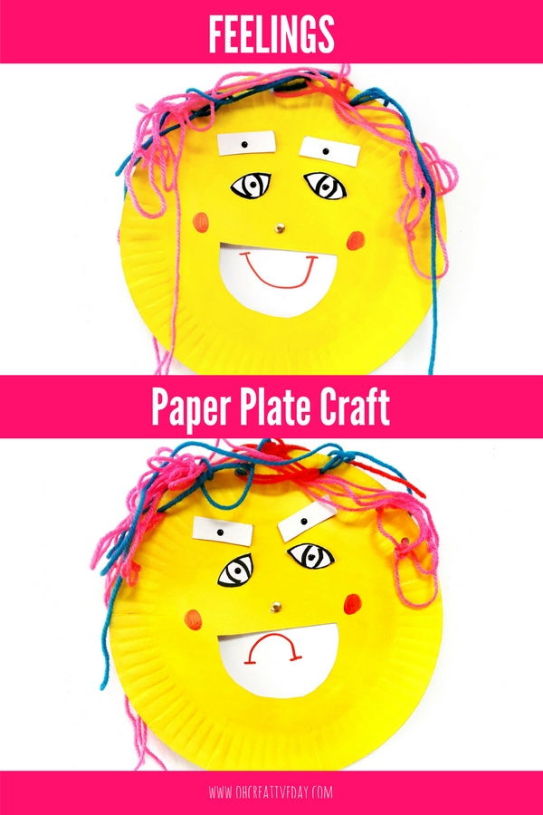 This simple feelings craft uses paper plates to encourage children to think about and discuss how their face can show emotion. #kidscrafts #paperplatecraft #feelingscraft