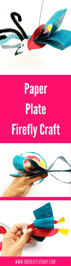 This paper plate firefly craft is the perfect accompaniment to a reading of Eric Carle's The Very Lonely Firefly. #kidscrafts #ericcarle #fireflycraft