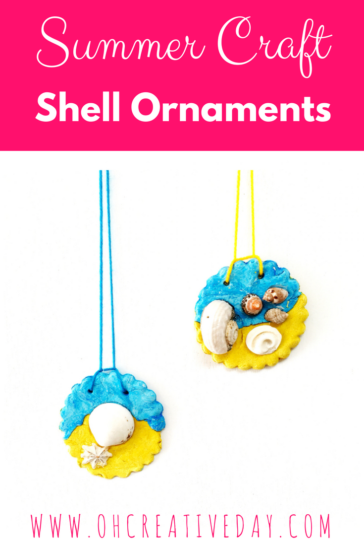 This summer craft for kids makes use of all the shells collected on beach walks and creates a hanging souvenir with clay. It's a perfect project for after a day spent at the beach.