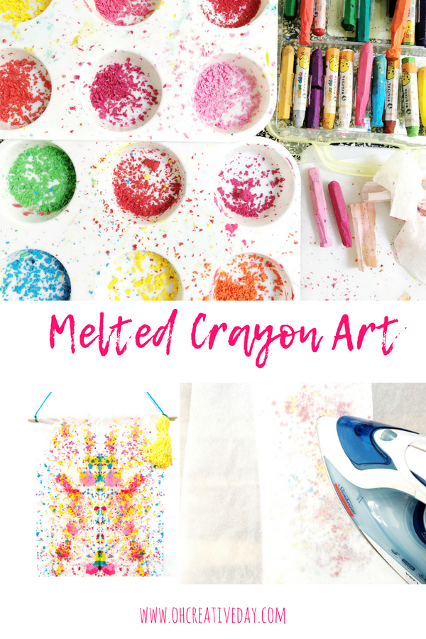 Melted crayon art is a simple project that combines a cool process with striking results. #kidscrafts #meltedcrayons #kidactivities #kidsart #meltedcrayonart