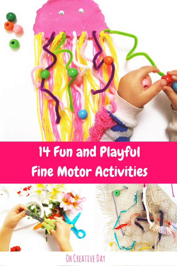 Looking for ways to develop your child's hand strength? Here are 14 fun and playful fine motor activities to help little learners develop the fine motor skills they need to be successful learners.