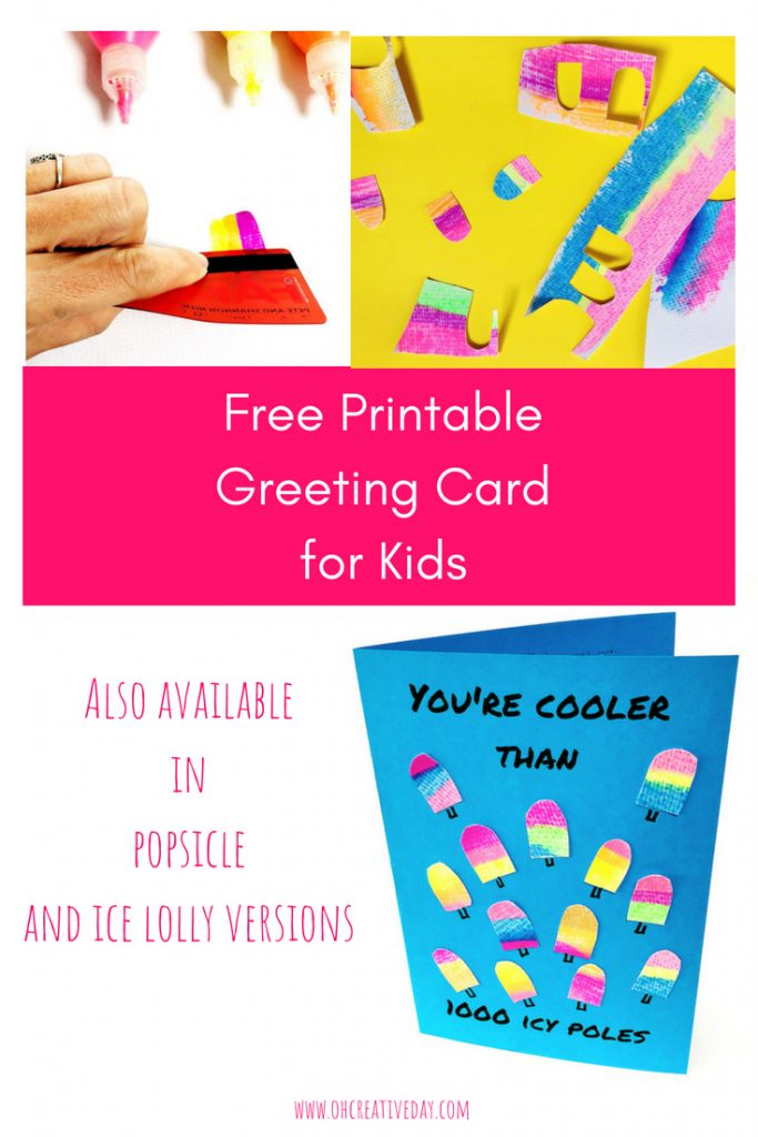 "How cool is your buddy? Cooler than 1000 icy poles? This printable greeting card lets friends know just how cool you think they are, whilst utilising a super fun and simple painting technique. Also available in ""popsicles"" and ""iced lollies"" alternatives. A fun and sweet card for kids to make. #kidsart #kidscrafts  #handmadecard"