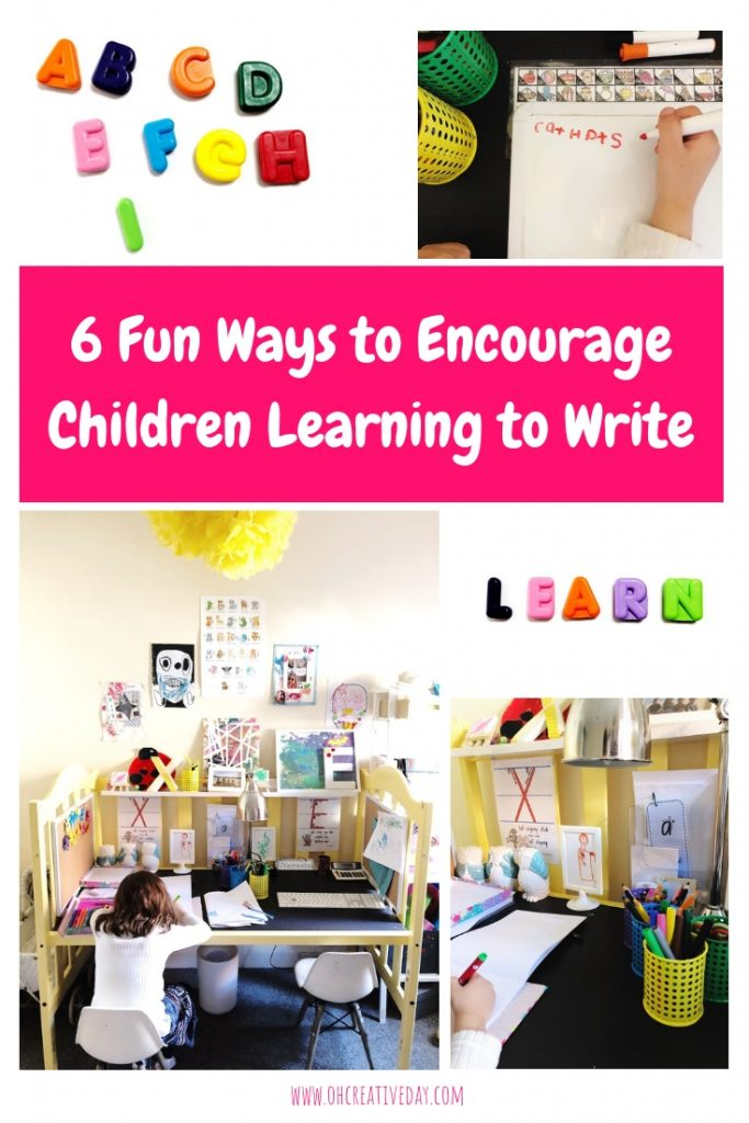 Is your child discovering the magic of letters and words? And pencils and pens and paper? Here are 6 fun and playful ways to encourage children learning to write. #preschooler #preschoolwriting #learningtowrite #writingactivitiesforpreschoolers