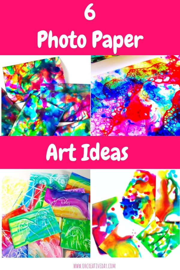 PHOTO PAPER ART - Do you have an old pack of photo paper sitting in a forgotten spot somewhere in your house? Cara from Raising Kinley shares 6 colourful and fun photo paper art ideas. #kidsart #kidspainting #kidsartsandcrafts