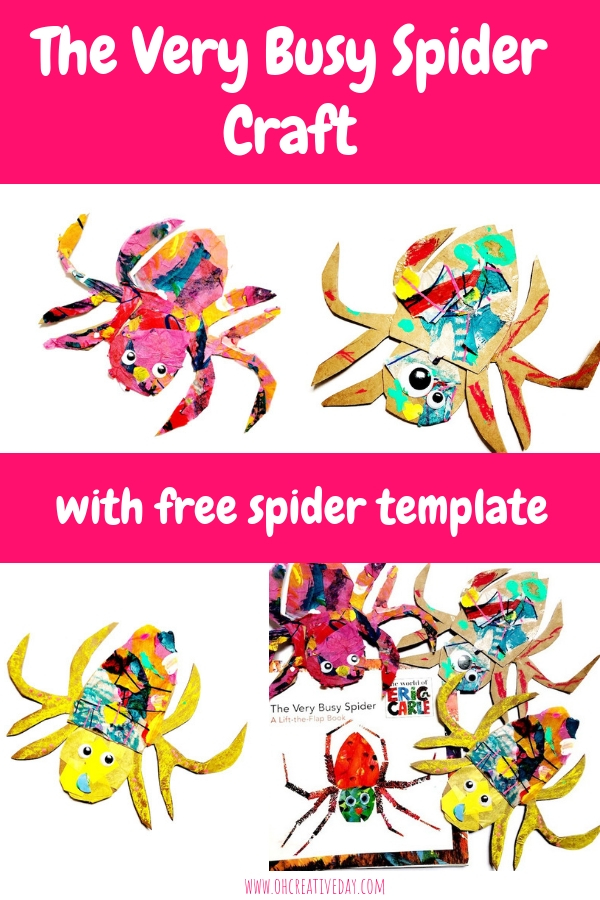 We are massive Eric Carle fans around here, and this The Very Busy Spider craft makes use of painted tissue paper from a previous Carle-inspired project.Download your free spider template, grab some glue and you're ready to collage some spiders. #ericcarlecrafts #kidscrafts #kidsarts #spidercraft #theverybusyspider