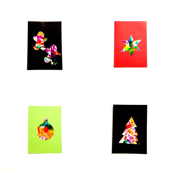 These spin art Christmas cards for kids use a process that is quick, produces vibrant, colourful art and is high on the fun-o-meter. #Christmascardsforkids #handmadeChristmascrafts #Christmascraftsforkids #kidscrafts