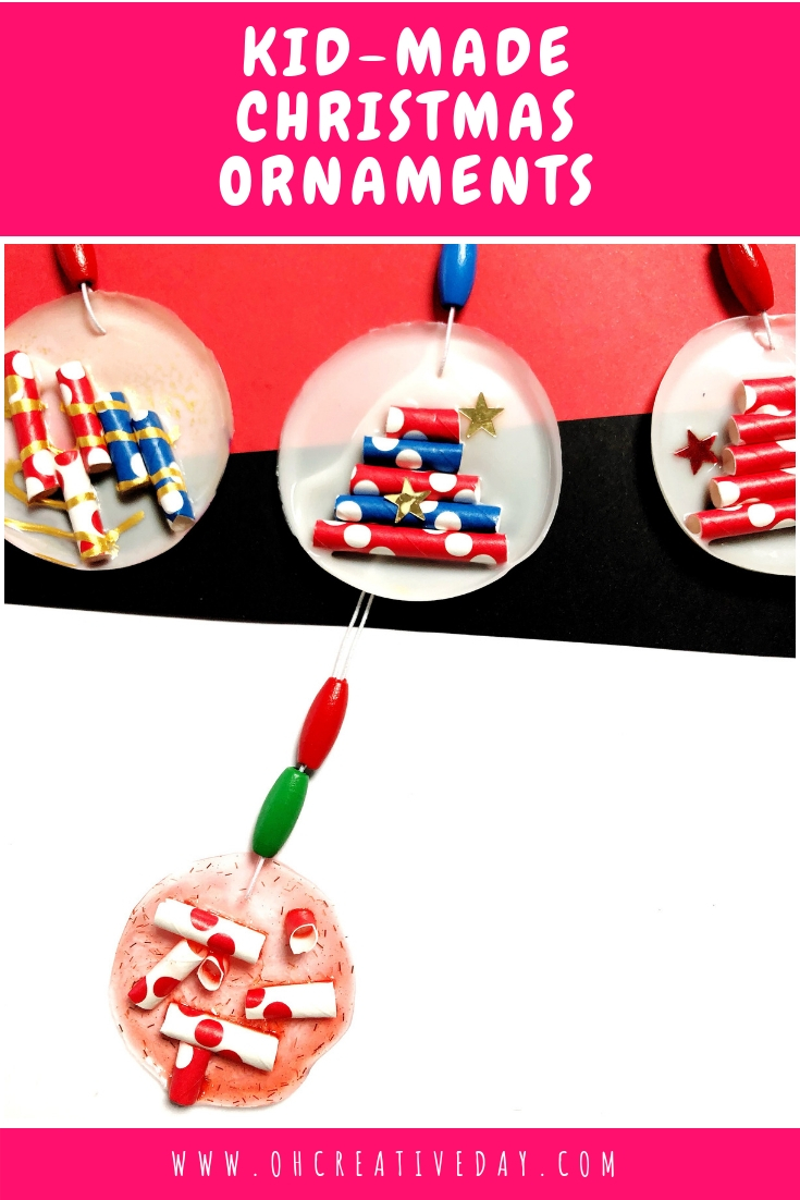 These kid-made Christmas ornaments are simply made from glue and paper straws. A super simple decoration that kids can make for the Christmas tree! #Christmascrafts #Christmascraftsforkids #Christmastree #kidmadeChristmasornaments #craftsforkids