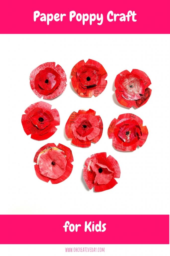 This paper poppy craft for kids involves a simple process of paint and paper for gorgeous results. A perfect project for Remembrance Day. #kidscrafts #poppycraft #RemembranceDaycraft